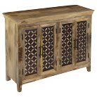Storage Cabinet Four Door Natural Wood - Christopher Knight Home