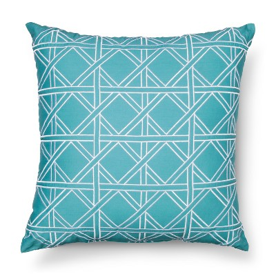 "Tulum Throw Pillow Aqua/White - (16'' x 16"") - Sabrina Soto™"