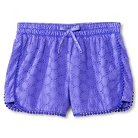 Girls' Eyelet Mid Rise Fashion Short Purple L - Cherokee®