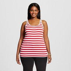 Women's Plus Size Favorite Tank Red and White Stripe  - Merona
