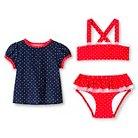 Toddler Girls' Polka Dot 3-Piece Rash Guard Set Nightfall Blue - Circo™