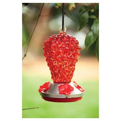 Glass hummingbird feeder top feeder red grapes Red - Evergreen