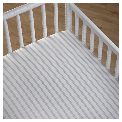 CoCaLo Crib Fitted Sheet - Stripe - Gray