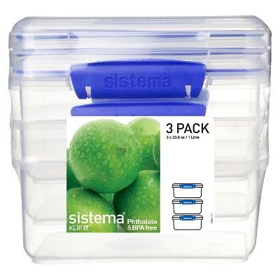 Sistema Klip It 3pk 33.8 oz. Containers