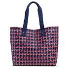 Women's Flamingo Canvas Beach Tote Handbag - Navy