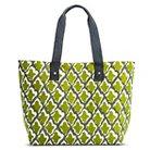 Women's Ikat Print Canvas Beach Tote Handbag