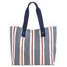 Women's Stripe Canvas Beach Tote Handbag