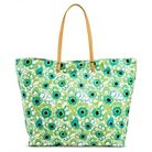 Women's Floral Canvas Print Zip Top Beach Tote Handbag - Lime