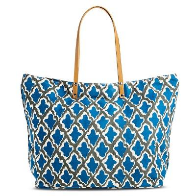 Women's Ikat Print Canvas Beach Tote Handbag - Blue