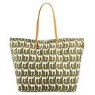 Women's Camel Print Canvas Zip Top Beach Tote Handbag