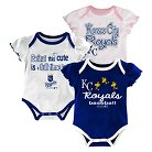 Kansas City Royals Girls 3pk Bodysuit Crawlers 0-3 M