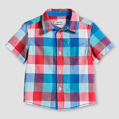 Toddler Boys' Short Sleeve Button Down Shirt White 6 - Cherokee®