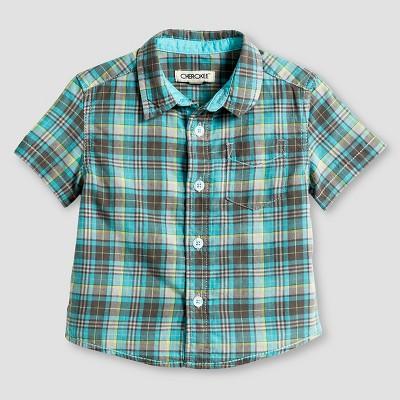 Male Button Down Shirts Green 12 M