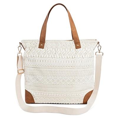 Women's Crochet Overlay Canvas Tote Handbag with Removable Crossbody Strap Handbag Cream - Merona™