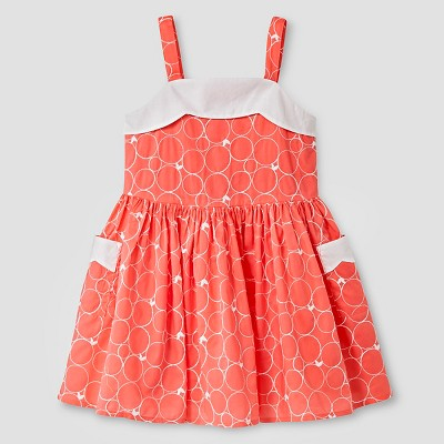 Toddler Girls' Scallop Neck Dress Coral 3T - Genuine Kids from Oshkosh™