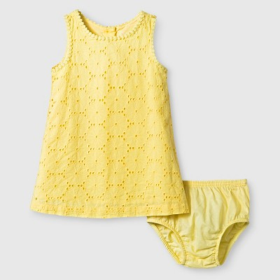 Baby Girls' Eyelet Dress Yellow 12M - Genuine Kids from Oshkosh™