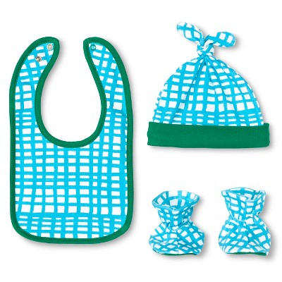 Oh Joy!® Newborn Bib, Hat & Slipper Set - Grid OSFM