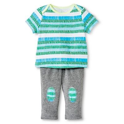 Oh Joy!® Newborn 2 Piece Tee and Pant Set - Blue/Green Stripes 6-9M