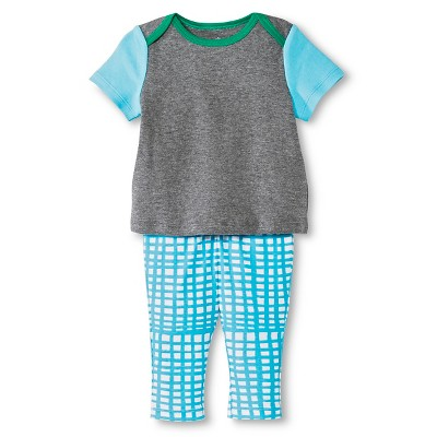 Oh Joy!® Newborn 2 Piece Tee and Pant Set - Blue Grid 0-3M