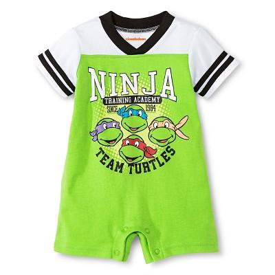 TMNT Newborn Boys' Athletic Romper - 0-3M Green