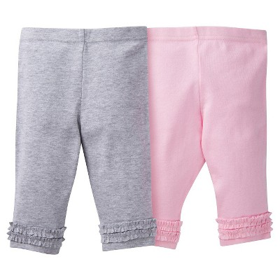 Gerber® Baby Girls' 2pk Legging Pant - Pink/Grey 18 M