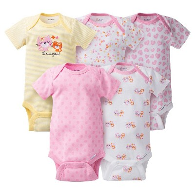 Gerber® Baby Girls' 5pk Kitty Onesies® - Pink NB