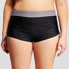 Women's Plus Size Vichy Black Side Tie Swim Short Black - Costa del Sol