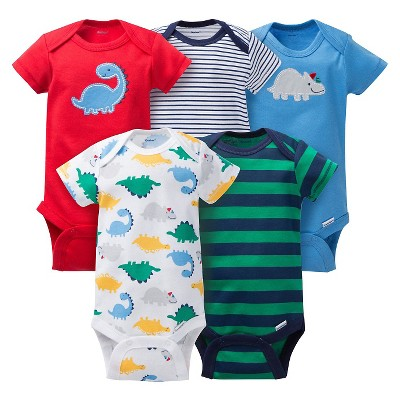 Gerber® Baby Boys' 5pk Striped Dino Onesies® - Red/Blue 12 M