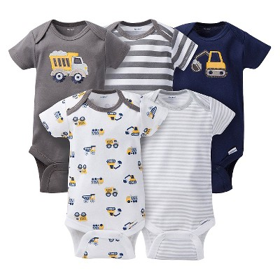 Gerber® Baby Boys' 5pk Striped Truck Onesies® - Grey/Brown NB