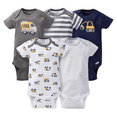 Gerber® Baby Boys' 5pk Striped Truck Onesies® - Grey/Brown NB