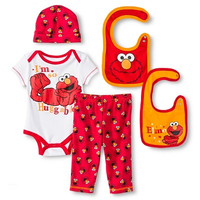 Elmo Baby Boys' 5 Piece Set - Red 0-6 M