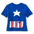 Toddler Boys' Captain America Tee with Detachable Shield Blue 2T