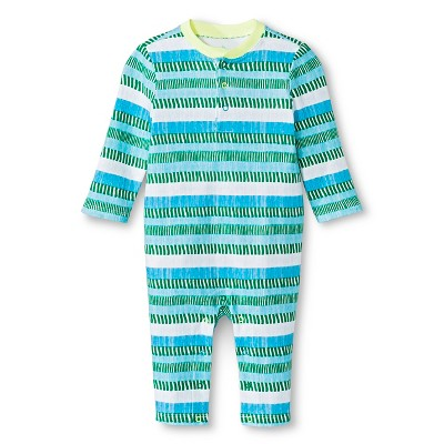 Oh Joy!® Newborn Long Sleeve Romper - Blue/Green Stripes 0-3M