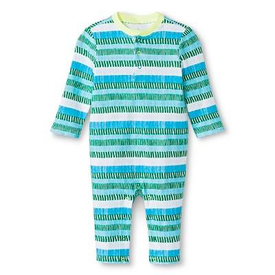 Oh Joy!® Newborn Long Sleeve Romper - Blue/Green Stripes 3-6M