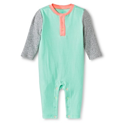 Oh Joy!® Newborn Long Sleeve Romper - Grey/Peach/Mint Colorblock 0-3M