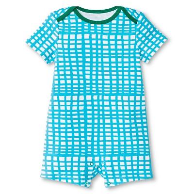 Oh Joy!® Newborn Short Sleeve Romper - Blue Grid 0-3M