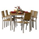 Oxford Garden Travira 7-Piece Dining Set - Powder Coated Aluminum with Teak and Black Sling Seats