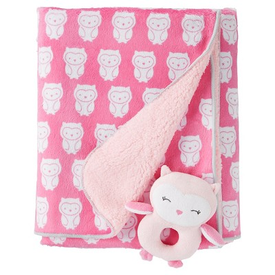 Just One You™ Made by Carter's® Girls' Rattle Blanket - Pink Owls