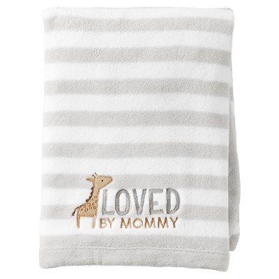 Just One You™ Made by Carter's® Neutral Fluffy Fleece Blanket - Gray/White Stripe