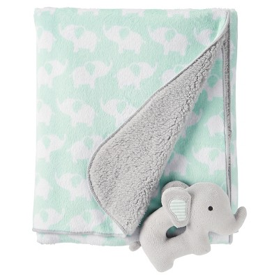 Just One You™ Made by Carter's® Neutral Rattle Blanket - Green Elephants