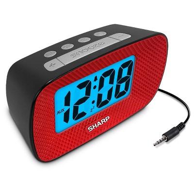 Sharp LCD Alarm Clock with Speaker