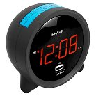 Sharp LED Alarm Clock with Speaker and 1 USB Charge Port