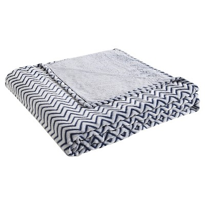 VCNY Chevron Two Tone Blanket - Blue (Full/Queen)