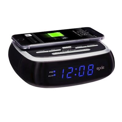 SXE Digital Alarm Clock with Wireless Phone Charging