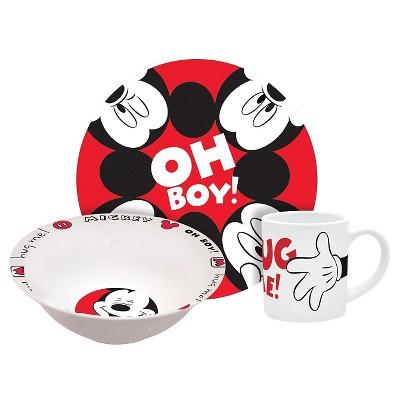Mickey Hug Me Porcelain 3-pc. Dinnerware Set