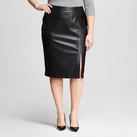 s plus size vegan leather pencil skirt bla target