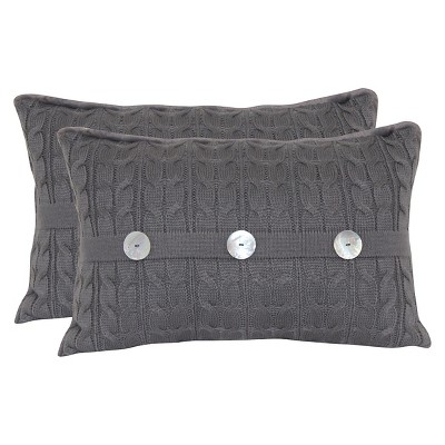 Cable Knit Oblong Throw Pillow with Pearl Buttons and  Plush Fur Back  - Graphite  - 14x20