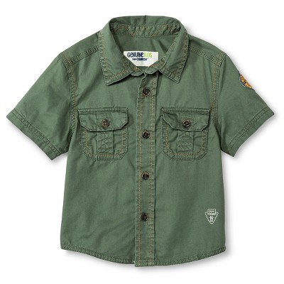 Baby Boys' Short Sleeve Button Down Shirt - Itasca Green 12 M - Genuine Kids™ from OshKosh®