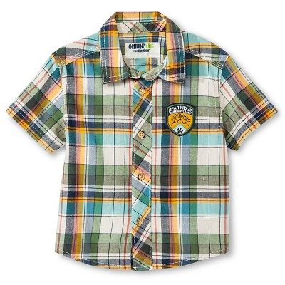 Baby Boys' Plaid Short Sleeve Button Down Shirt - 12M - Genuine Kids™ from OshKosh®