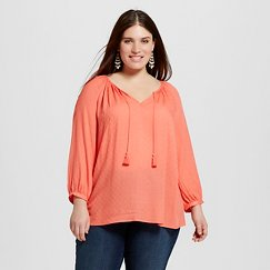 Women's Plus Size Peasant Top - Merona™